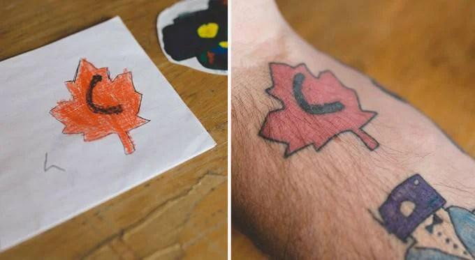 foglia disegno e tatuaggio su braccio