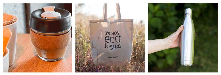 Bolsa de tela, botella y taza para llevar de esturirafi. Ideas de regalos corporativos ecológicos.