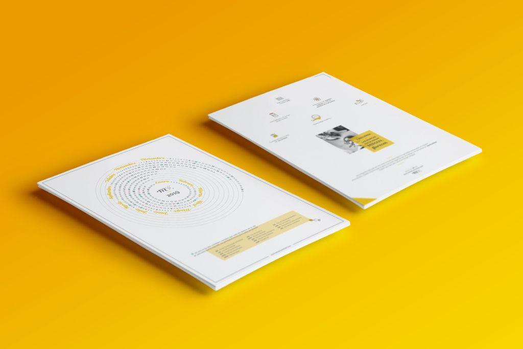 Mockup diseño calendario corporativo universo meraki