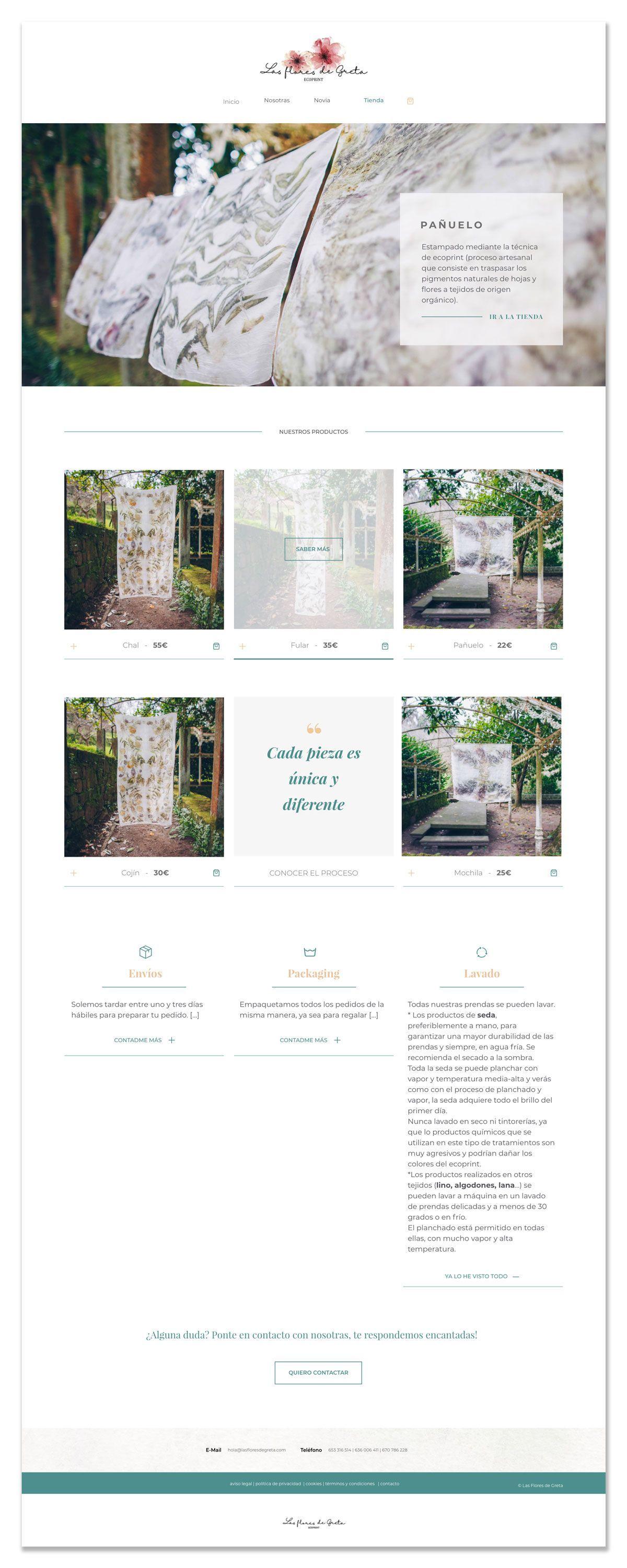 Diseño web shop Las Flores de Greta