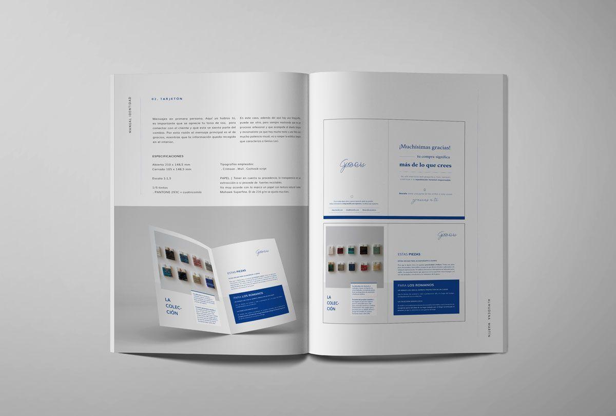 Interior manual de identidad Maralle y Genius Loci. Descripción, simulación y medidas del díptico