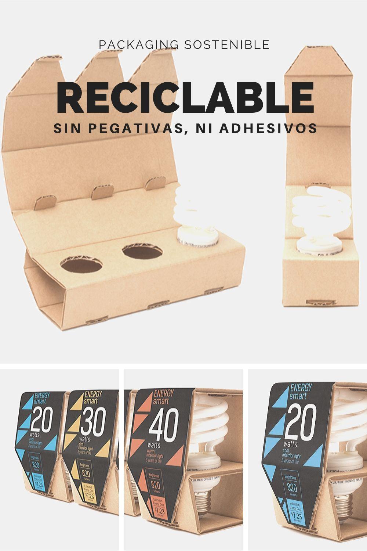 Envase reciclable sin adhesivos ni pegamento. Materiales sostenibles para packaging sostenible.