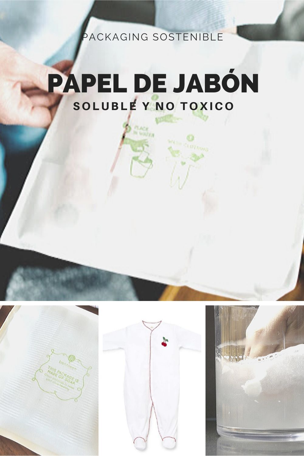 Packaging sostenible hecho de papel con jabón biodegradable