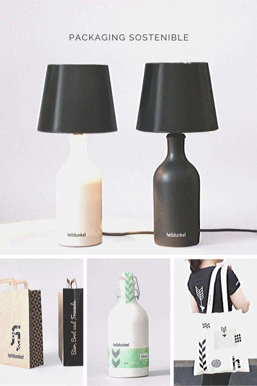 botella reutilizable y convertida en lámpara