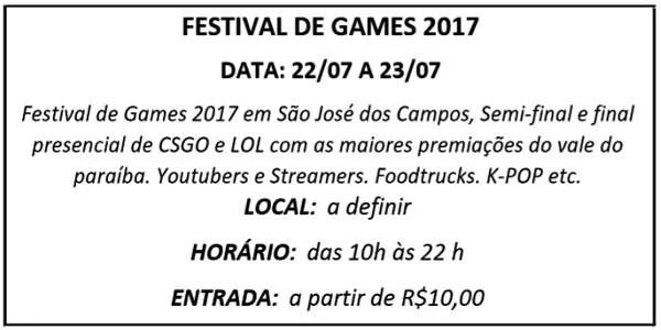 22 FESTIVAL DE GAMES - Agenda