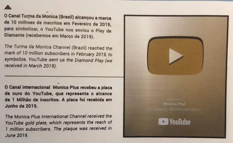 Placa de premiação YouTube - Uma viagem ao Tempo com a Turma da Mônica