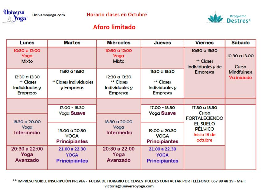 Horarios clases yoga octubre 20