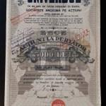 Actiune 1921 Ziarul Universul – titlu – 10 actiuni la purtator – Rara