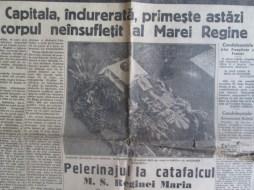 Ziarul Universul(doar 4 pagini) din 22-6-1938,cu funeraliile Reginei Maria 3