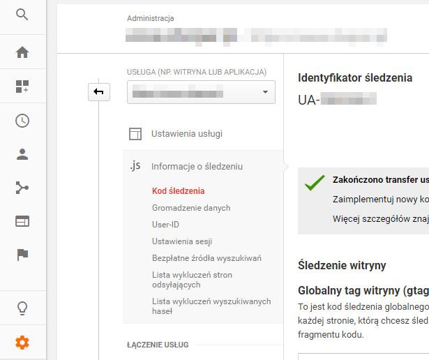 Identyfikator śledzenia Google Analytics