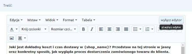 edytor HTML Shoper