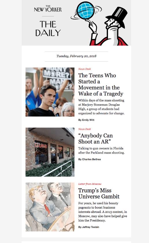 The New Yorker Daily przykład newslettera