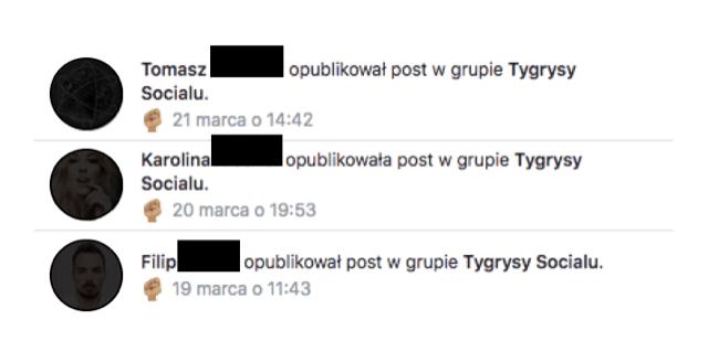 """Powiadomienia o wpisach na grupie """"Tygrysy Socialu"""" firmy Social Tigers."""