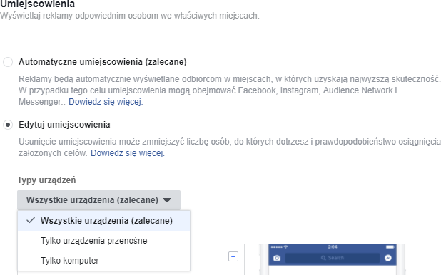 FB reklama mobile lub desktop