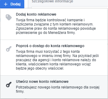 jak dodać konto reklamowe na Facebooku