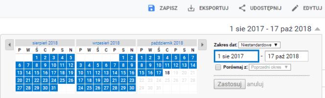 zakres czasu Google Analytics