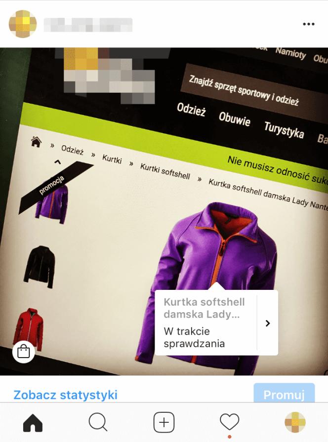 Produkt na Instagramie – dodane oznaczenie.