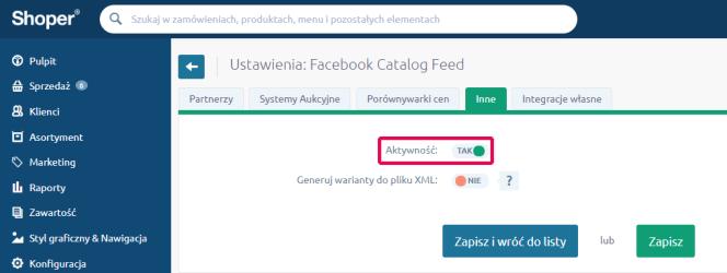 Aktywność pliku XML dla Facebooka