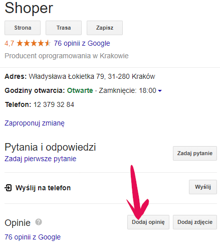 Dodaj opinię do Google Moja Firma