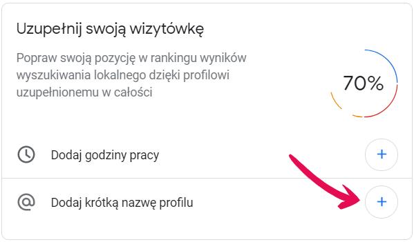 Dodaj krótką nazwę profilu w Google Moja Firma