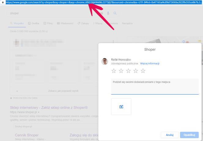 URL dodania opinii do Google Moja Firma