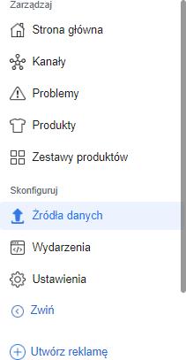 Źródła danych produktów