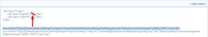 Przeklejanie kodu HTML w sklepie Shoper
