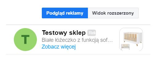 Przykład reklamy w skrzynce odbiorczej Messengera.