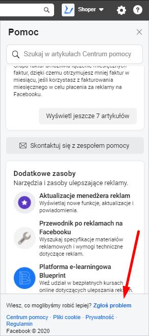 Zgłoś problem – Facebook