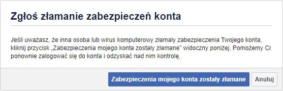 Zgłoszenie przejęcia konta na Facebooku
