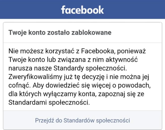 Komunikat o blokadzie konta na Facebooku
