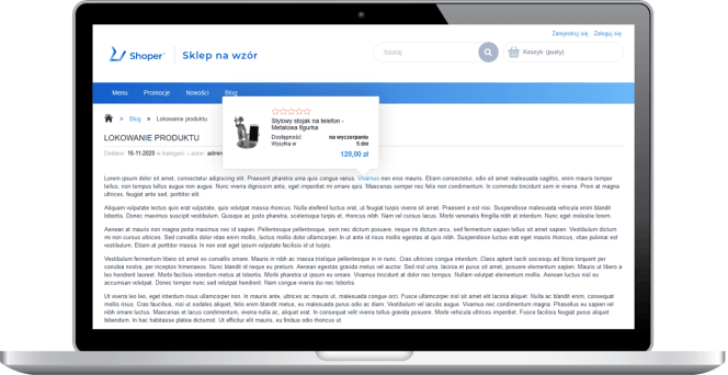 Lokowanie produktu na blogu - desktop