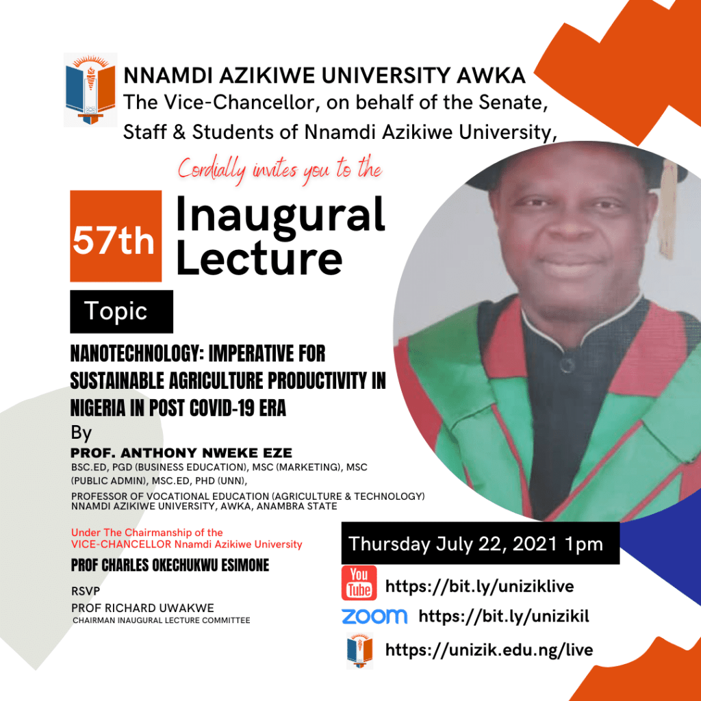 57th Inaugural Lecture Series by Prof. Anthony Nweke Eze