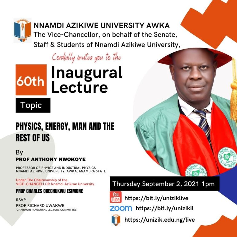 60th Inaugural Lecture Series by Prof. Anthony Nwokoye