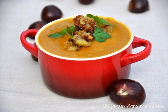 soupe de potimarron châtaignes un jardin dans ma cuisine