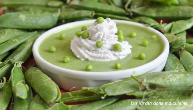 soupe de petits pois frais chantilly au lait de coco