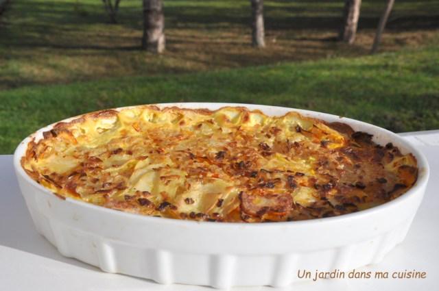 gratin de pommes de terre potimarron sauce échalotes