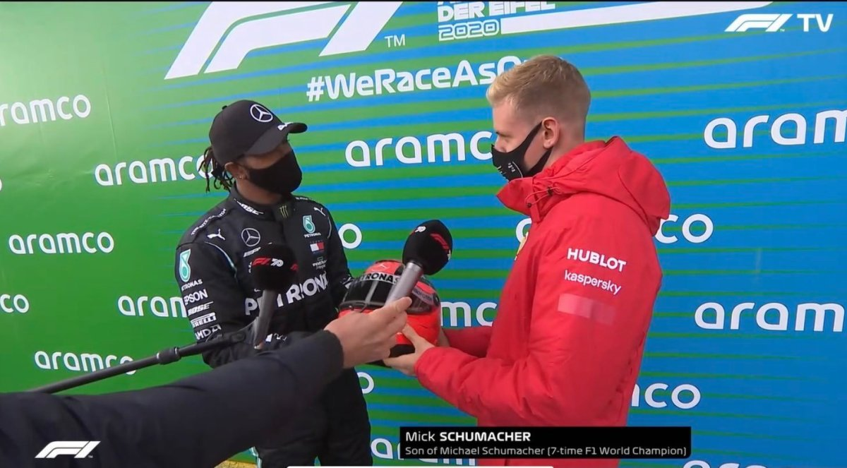 Breaking Lewis Hamilton Equals Michael Schumacher Record With Eifelgp F1 Win Gets Honored With Helmet Presented By Mick Schumacher Unkleaboki Diary