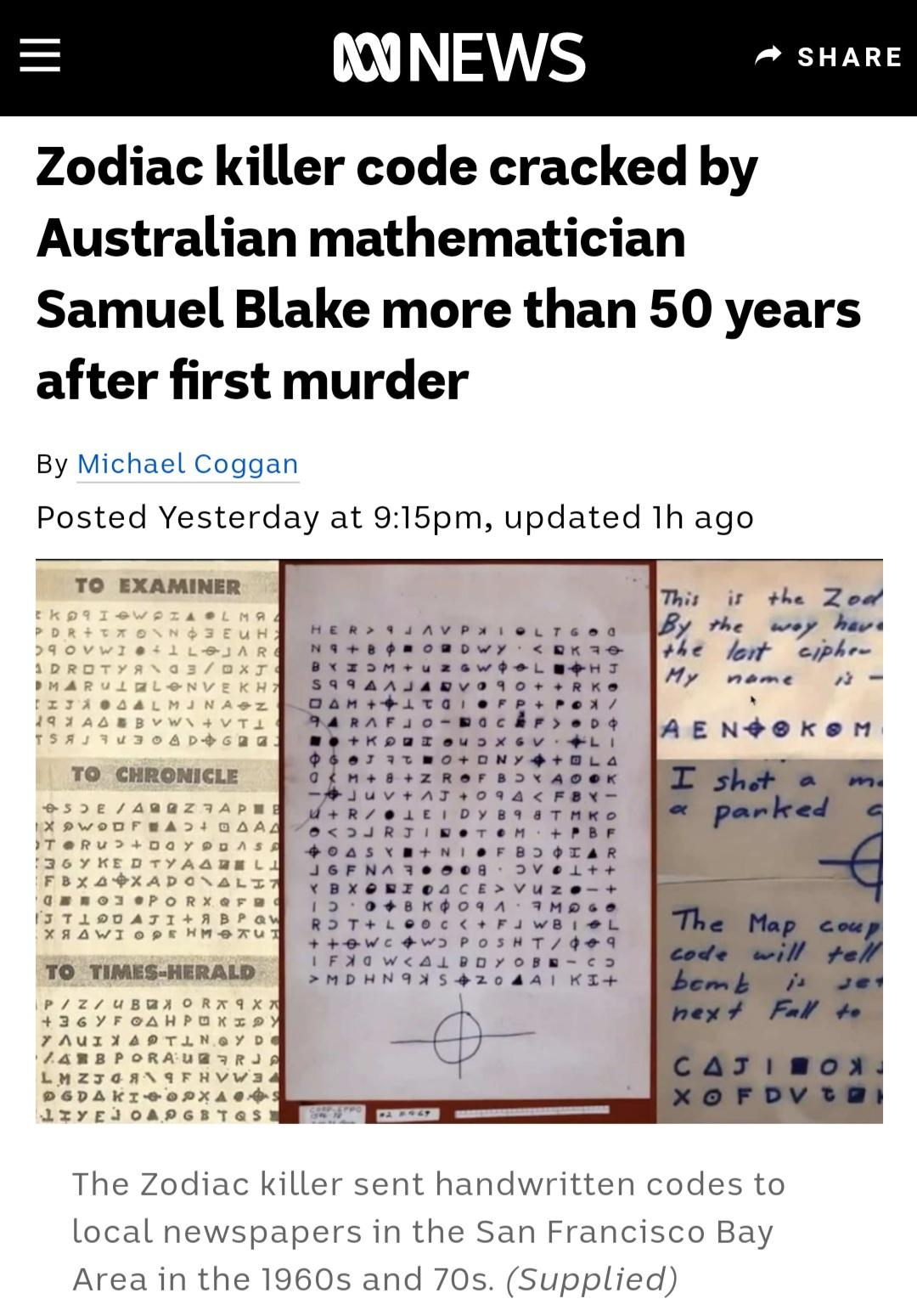 A Mysterious Cipher from the infamous Zodiac Killer has been cracked by Australian Mathematician Samuel Blake [Video and 15 Funny Memes]