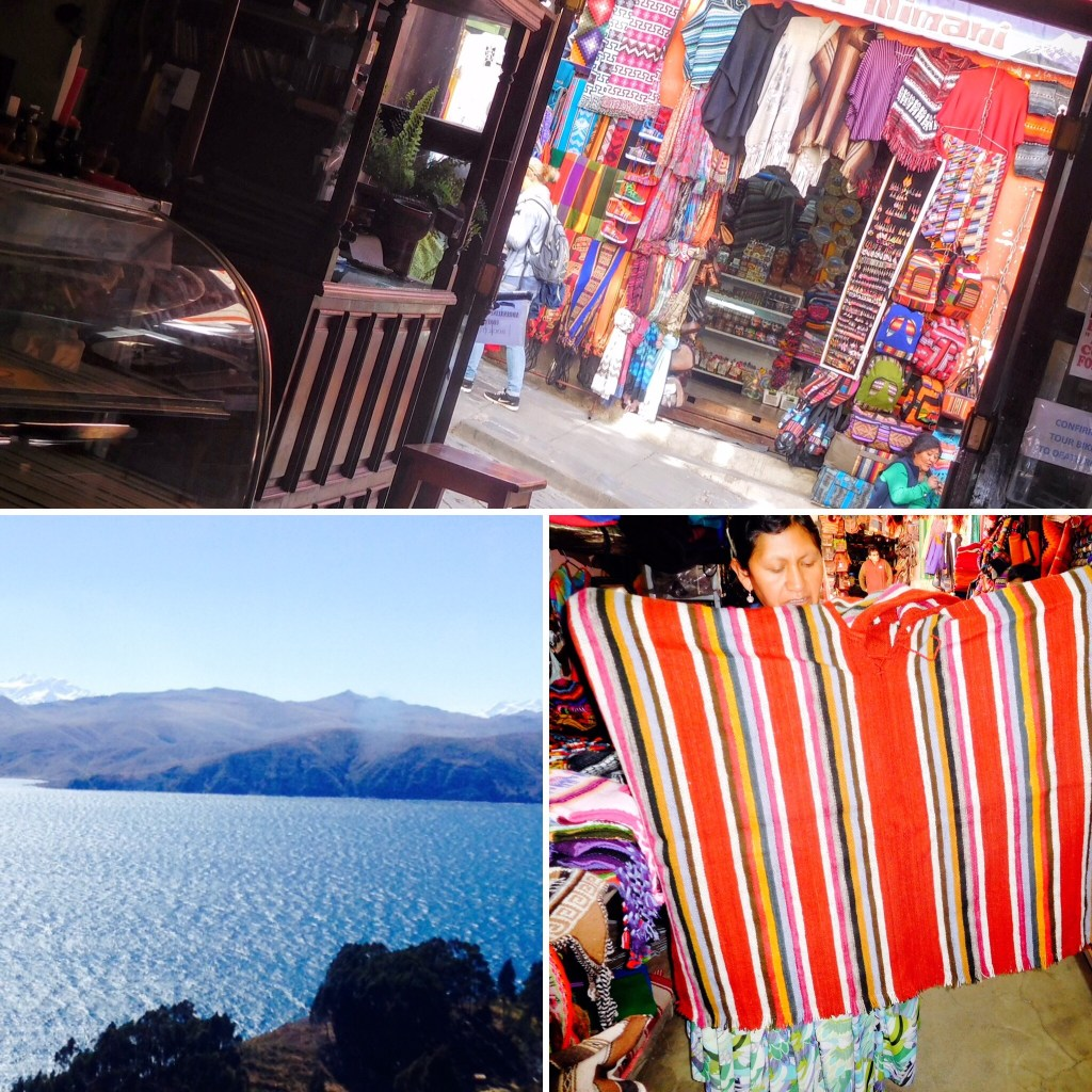 Images of La Paz markets and blue water of Lake Titicaca