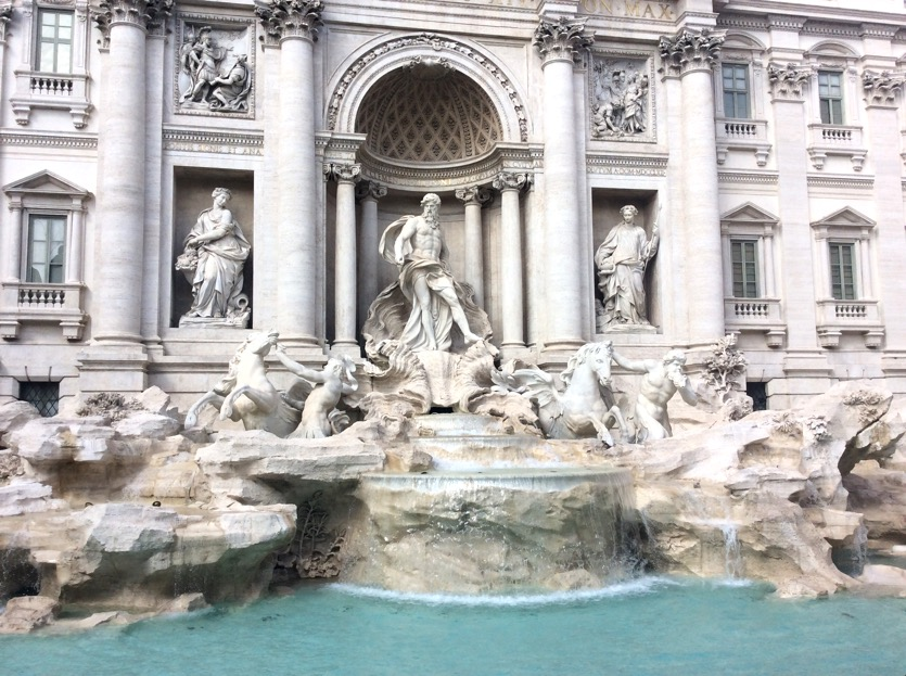 Full frontal view of the Trevi Fountain