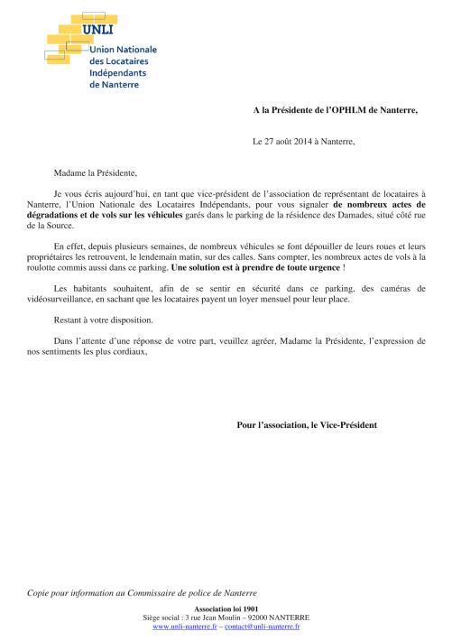14-11à13 - Problème aux Damades (Lettre)