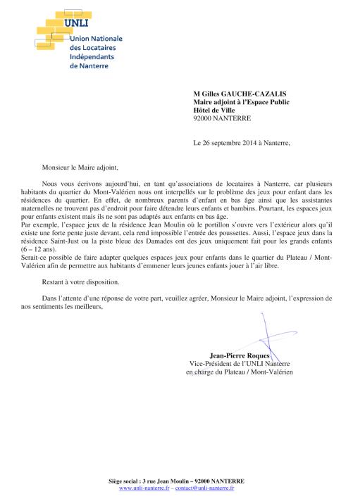 14-23 - Jeux pour enfants au Plateau - Mont-Valérien (Lettre Mairie)
