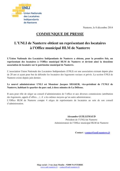Communiqué de presse 2014-12-08 - Un administrateur à l'Office HLM de Nanterre