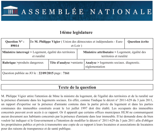 Question 2015-09 de Philippe Vigier - Dossier amiante
