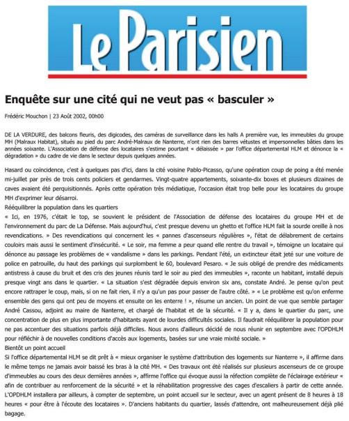 Le Parisien du 2002-08-23 - Enquête sur une cité qui ne veut pas « basculer »