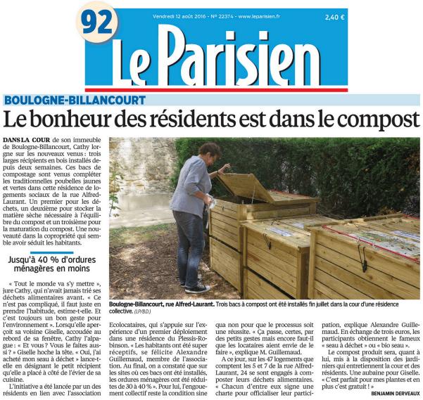 Le Parisien du 2016-08-12 - Le bonheur des résidents est dans le compost