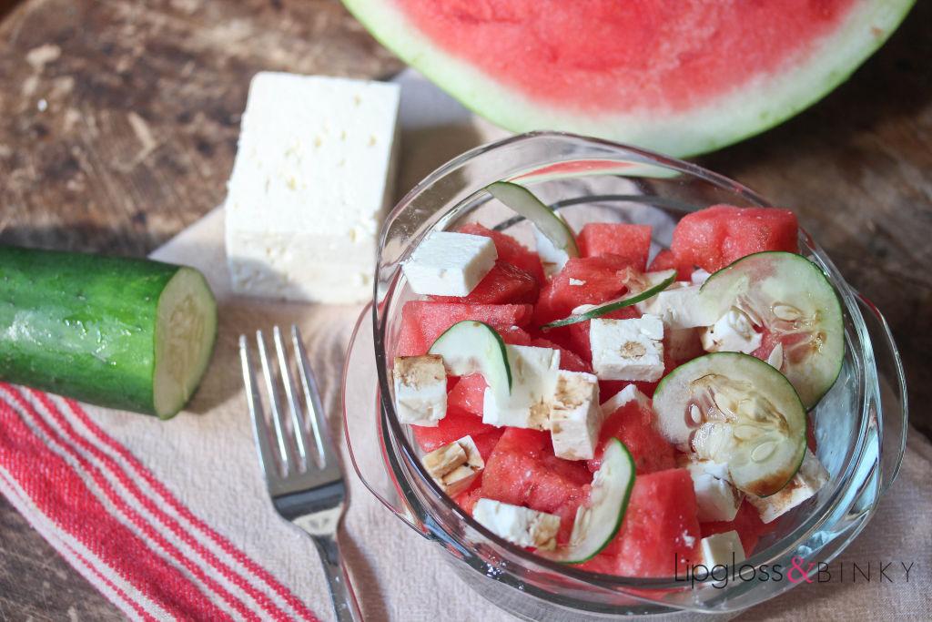 Watermelon feta cucumber salad