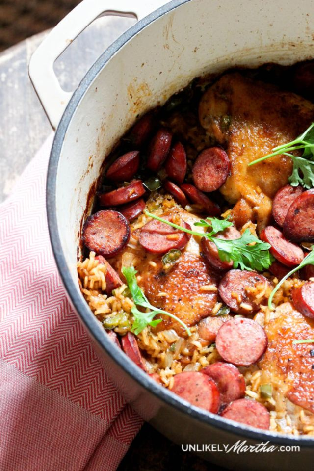 This chicken and sausage dirty rice recipe is the perfect one pot meal.
