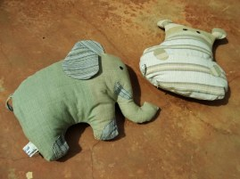 sample of bio cloth - pillows in form of hippo and elephant
